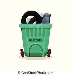 Plastic container full of trash. Garbage can with two wheels. Flat vector icon related to waste sorting and recycling theme