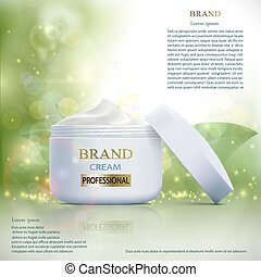 Plastic container with cosmetic cream on a natural background. S