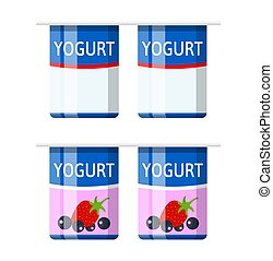 Plastic container with yogurt. Strawberry black currant yogurt dessert. Food plastic glass. Milk product. Organic healthy product. Vector illustration in flat style