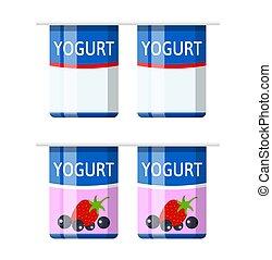 Plastic container with yogurt. Strawberry black currant yogurt dessert. Food plastic glass. Milk product. Organic healthy product. Vector illustration in flat style
