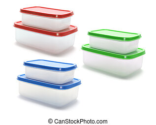 Plastic Containers on Isolated White Background
