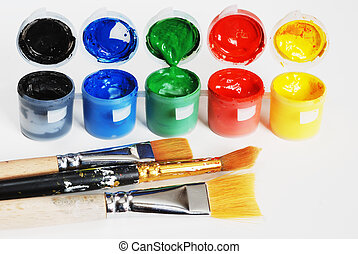 plastic containers with paint, black, blue, green, red, yellow