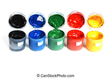 plastic containers with paint