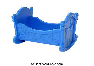 Blue toy cradle.