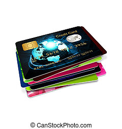 credit cards isolated over white - plastic credit cards ...