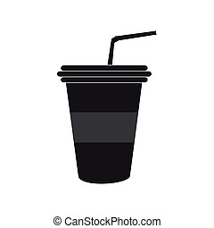 Plastic cup drink - Silhouette of a plastic cup with soda,...