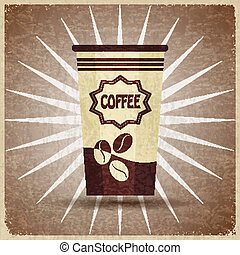 Plastic cup of coffee on a vintage background