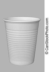 White office coffee dispenser type cup. Isolated over grey.