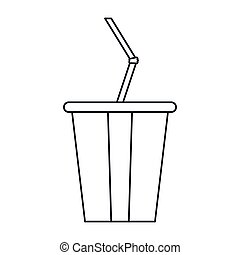 plastic cup soda with straw drink american football outline