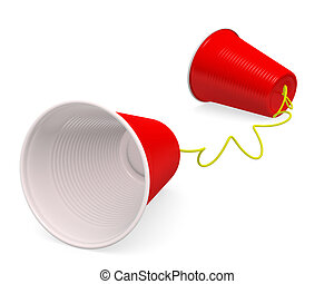 "Plastic Cup Telephone - ""Tin can telephone"" made up of two..."