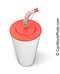 Plastic cup with a straw for your design. 3d render image