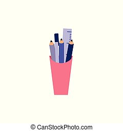 Plastic cup with stationery filling - pencil, ruler and other office and school supplies.