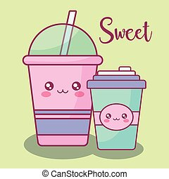 plastic cup with straw kawaii character