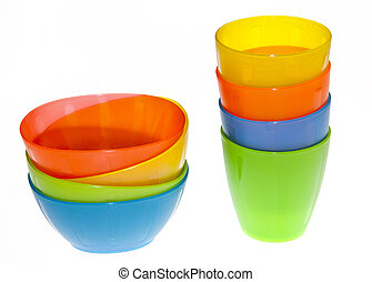 Plastic Cups - Group of brightly coloured plastic cups