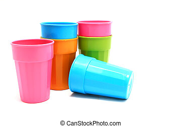 Plastic cups of various color isolated on white