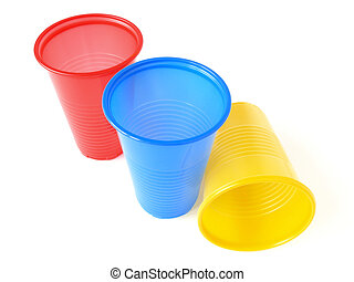 plastic cups - three plastic empty colorful cups