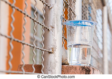 Plastic cups with water on the wall of fence of rails