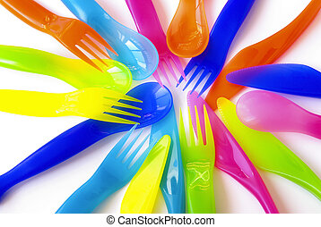 Plastic Cutlery - Colorfull plastic spoons, forks and...