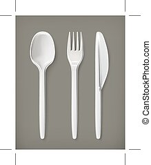 Plastic cutlery icons - Plastic cutlery, vector icons