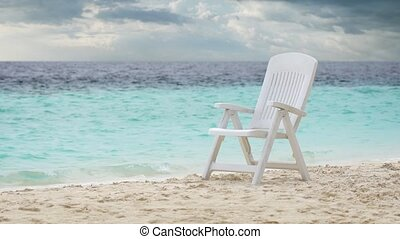 Plastic Deck Chair on Tropical Beach Paradise in the ...