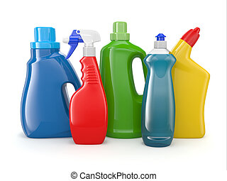 Plastic detergent bottles. Cleaning products. - Plastic ...