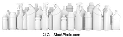 Plastic detergent bottles in a row.