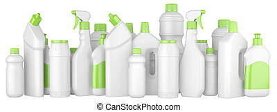 Plastic detergent bottles with green caps in a row.