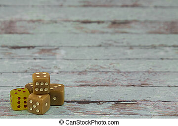 Plastic Dices on White Wooden Table: Gambling Theme