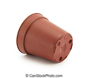 plastic disposable container flowerpot brown