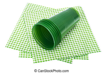 Plastic disposable tableware on white background