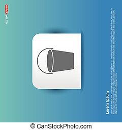 Plastic empty bucket icon - Blue Sticker button