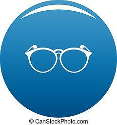 Plastic eyeglasses icon blue vector