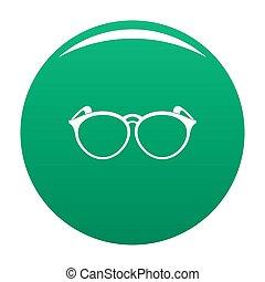 Plastic eyeglasses icon green