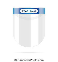 Plastic face shield with blue details. - Face shield with ...