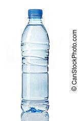 plastic flaska, av, vatten