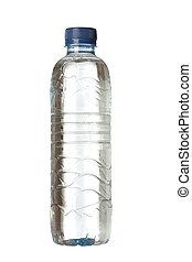 plastic flaska, fyllda, av, vatten