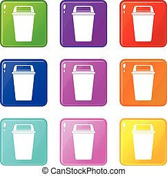 Plastic flip lid bin icons 9 set