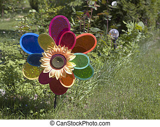 Plastic Flower In Garden