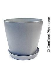 Plastic flower pot isolated on white background