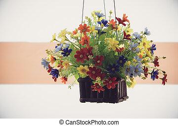 Plastic flowers.