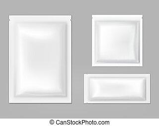 Plastic, foil sachets with tear gape vector - Blank white...