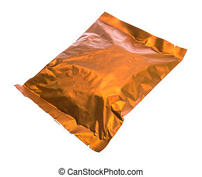 plastic food bag isolated on white background