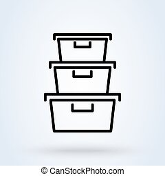 Plastic food containers outline icon. linear style sign for mobile concept and web design. line vector icon. Symbol, logo illustration.