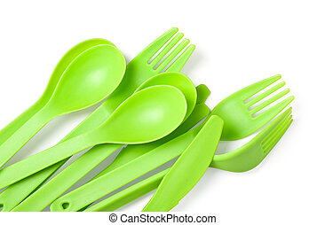 plastic fork, spoon and knife