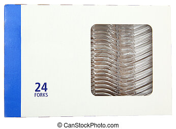 Plastic Forks in Blank Label Box