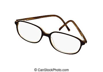 Plastic frame spectacles on white background