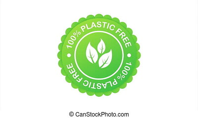 Plastic free green icon badge. Bpa plastic free chemical mark.  stock illustration.