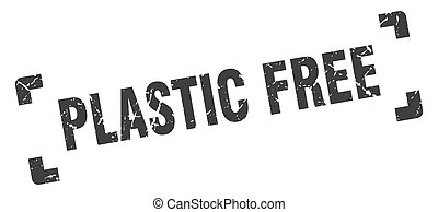 plastic free stamp. square grunge sign isolated on white background