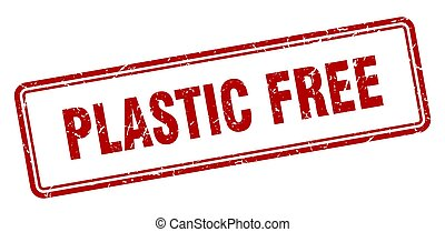 plastic free stamp. square grunge sign on white background