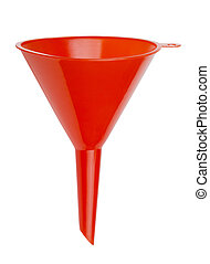 Plastic funnel - Red plastic funnel isolated on white
